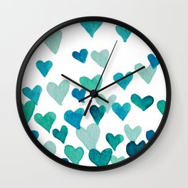 Valentine's Day Watercolor Hearts - turquoise Wall Clock
