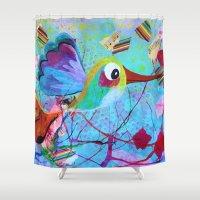 hemingway Shower Curtains featuring Hemingway - Quirky Bird Series by Hyla Zest
