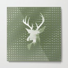 Green Deer Abstract Footprints Landscape Design Metal Print