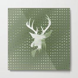 Green Deer Abstract Footprints Landscape Design Metal Print