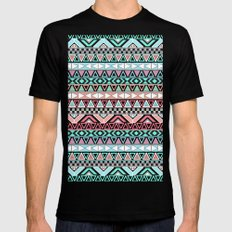Pastel me | Andes Teal Pink Cute  Abstract Aztec Pattern Black SMALL Mens Fitted Tee