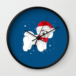 Bichon Frise red christmas holiday themed pattern print pet friendly dog breed gifts Wall Clock