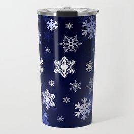 Dark Blue Snowflakes Travel Mug