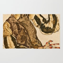Egon Schiele - Self Portrait With Striped Armlets Rug
