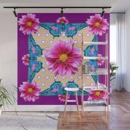 BLUE BUTTERFLIES FUCHSIA DAHLIA FLOWERS ABSTRACT Wall Mural