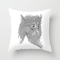 beast Throw Pillows featuring Beast by Olya Goloveshkina