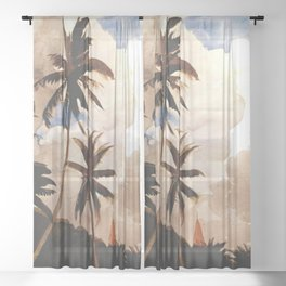 Palm Trees Bahamas Circa 1888 By WinslowHomer   Reproduction Sheer Curtain