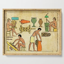 Modern hieroglyphs: Ancient Egypt workers tanning and finishing animal furs Serving Tray