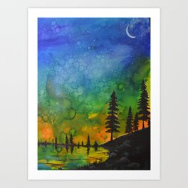 Northern Lights (moon right side) Art Print