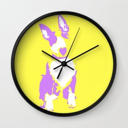 Puppy in yellow purple and white art print Wall Clock