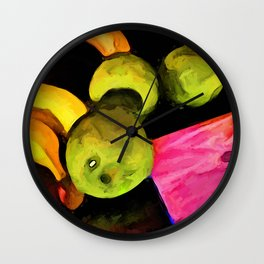 Green Apples on an Angle with a Pink Board Wall Clock