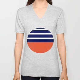 Summer Patio Perfect, Adobe Orange, White & Navy Unisex V-Neck
