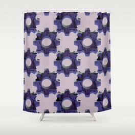 IMPROBABLE GREASE REEL blue pat. Shower Curtain