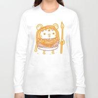 ewok Long Sleeve T-shirts featuring Cheeseburger Ewok by Philip Tseng