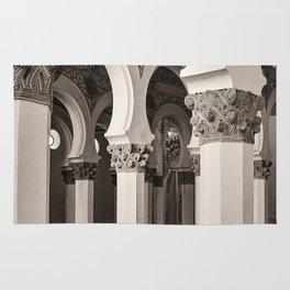 The Historic Arches in the Synagogue of Santa María la Blanca 5, Toledo Spain Rug