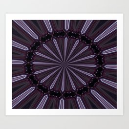 Eggplant and Pale Aubergine Abstract Floral Pattern Art Print