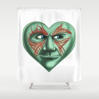 starlord Shower Curtains featuring Drax Heart Guardians of the Galaxy  by Sam Skyler