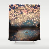 lake Shower Curtains featuring Love Wish Lanterns by Paula Belle Flores