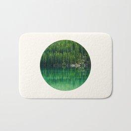Mid Century Modern Round Circle Photo Graphic Design Reflective Green Pine Forest Lake Bath Mat