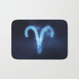 Aries Zodiac Sign. Abstract night sky. Bath Mat