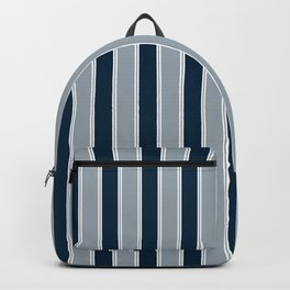 Large Vertical Christmas Midnight Navy Blue And White Bed Stripe Backpack