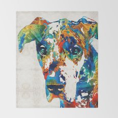 Colorful Great Dane Art Dog By Sharon Cummings Throw Blanket