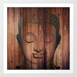 Wood budha Art Print