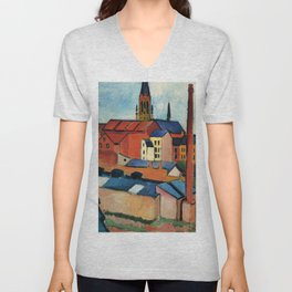 "August Macke ""St. Mary's with Houses and Chimney (Bonn)"" Unisex V-Neck"