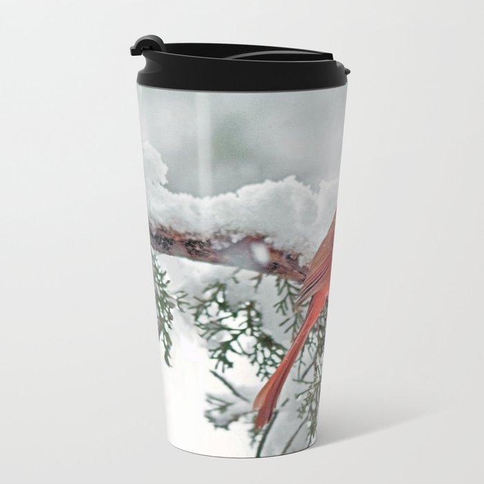 Cardinal on Snowy Branch #3 Metal Travel Mug