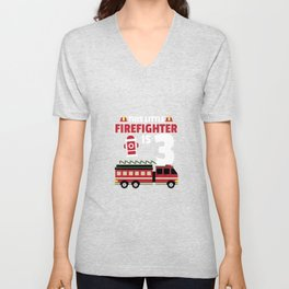 This Little Firefighter Is 3 Birthday Gift For Boys & Girls Unisex V-Neck