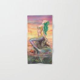 fantasy mermaid at amazing sunset Hand & Bath Towel