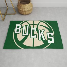 Bucks basketball vintage green logo Rug