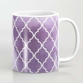 Moroccan Trellis, Watercolors - Purple White Coffee Mug