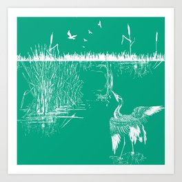 Oriental Exotic Heron & Boirds on a Lake Print - Emerald Green Art Print