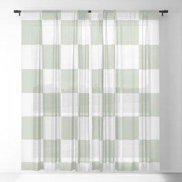 Green & White Checkered Pattern Sheer Curtain