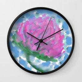 Pink Clover Flower Wall Clock