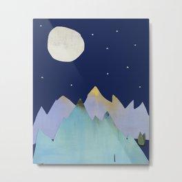Mountains Moon Starry Night Sky Metal Print