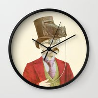 photographer Wall Clocks featuring The Photographer by Eric Fan
