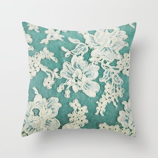 white lace - photo of vintage white lace Throw Pillow