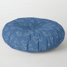 Corgi Pattern on Navy Background Floor Pillow
