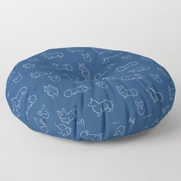 Corgi Pattern on Navy Background Floor Pillow