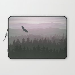 mountain forest in fog and sunrise with stars Laptop Sleeve