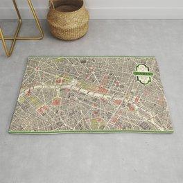Paris, France City Map Vintage Poster, Eiffel Tower, Notre-Dame, Champs-Elysees, Arc de Triomphe, Latin Quarter Rug