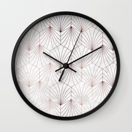 Hexagonal Leaves of Rose Gold on White Marble Wall Clock