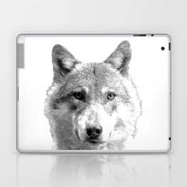 Black and White Wolf Laptop & iPad Skin