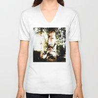birch V-neck T-shirts featuring birch by Eva Lesko
