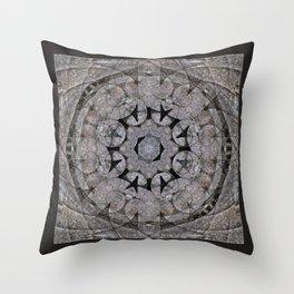 Gothic Romanesque Stone Architecture Mandala Pattern Throw Pillow