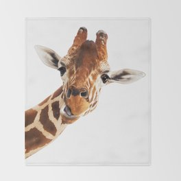 Giraffe Portrait // Wild Animal Cute Zoo Safari Madagascar Wildlife Nursery Decor Ideas Throw Blanket