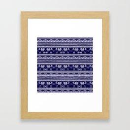 White and Navy Blue Elephant Pattern Framed Art Print