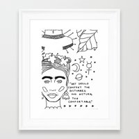cactei Framed Art Prints featuring Kahlo x Banksy by ☿ cactei ☿